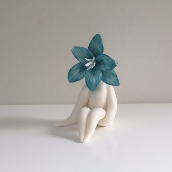 Turquoise Lily Flower Sculpture