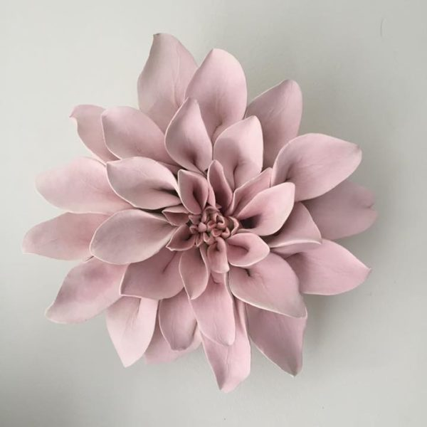 Pink Ceramic Flower Wall Art Dahlia