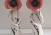 poppy ceramic flower sculptures