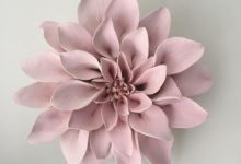 Pink Ceramic Flower Wall Art Dahlia
