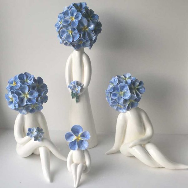 forget me not ceramic flower figurines