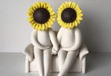Mr and Mrs Sunflower - ceramic flower sculpture figurine